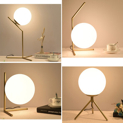 Nordic minimalist table lamp bedroom bedside cabinet lamp creative postmodern room warm romantic warm glass round ball light