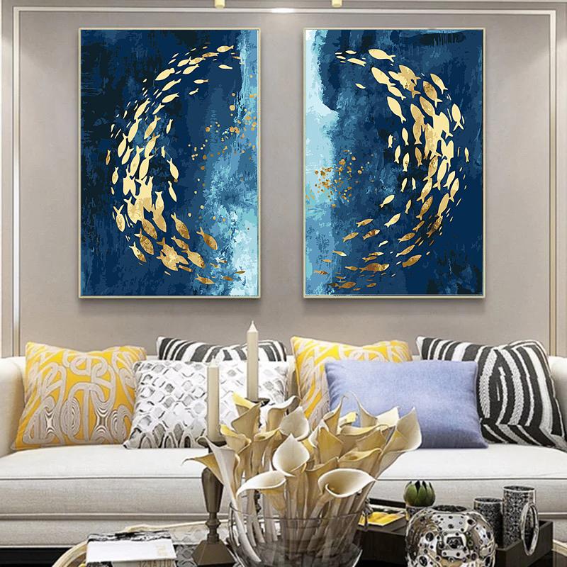 diy填色数字油画油彩画北欧 风 现代轻奢抽象客厅玄关装饰画 鱼