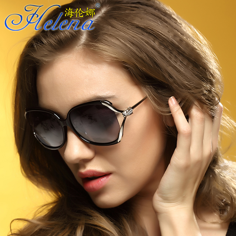 b4395c72307 ... Polarized Sunglasses Women 2019 New Hollow Big Frame Rhinestone Fashion  Round Face Helena Driving Sunglasses