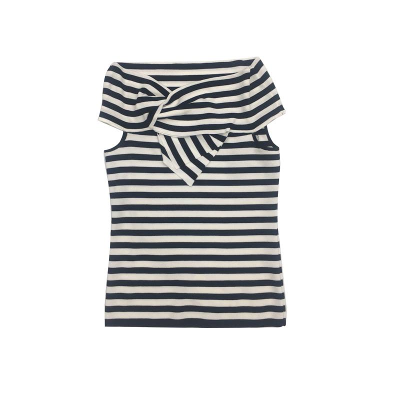 LackFashion\条纹同款无袖专柜T恤女冰丝透气针织衫潮艾诺丝雅诗
