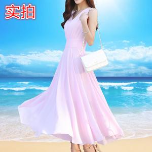 5993#2018新款雪纺连衣裙显瘦夏季长裙中长款裙沙滩裙女
