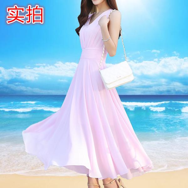 5993#2018新款雪纺连衣裙显瘦夏季长裙中长款裙子沙滩裙女