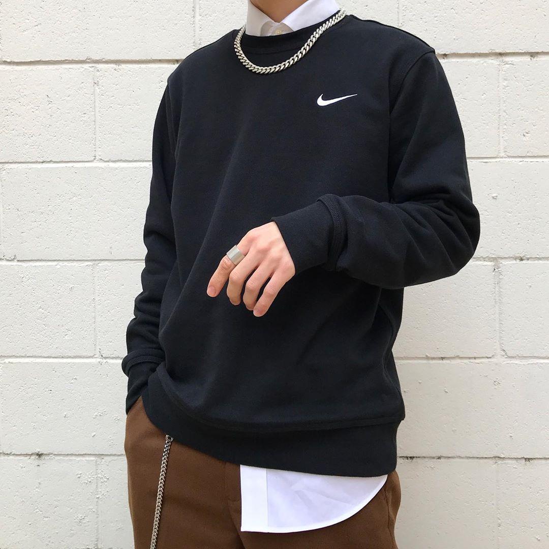 咬鞋现货GNikeWEssentialCrewneck廓形版型小勾系列卫衣