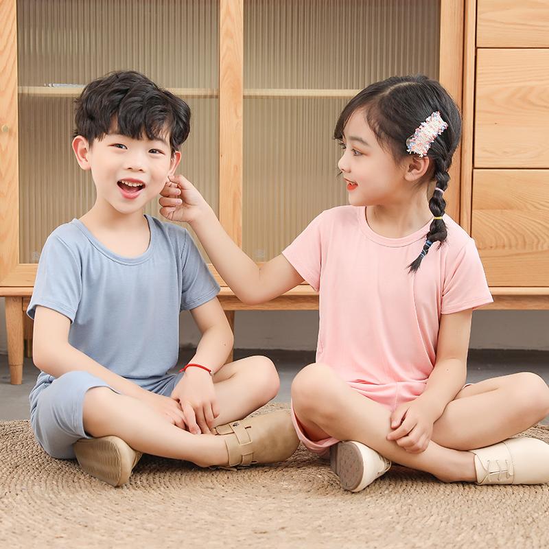 儿童短袖套装男女童纯色睡衣宝宝夏季男孩家居服莫代尔空调服薄款