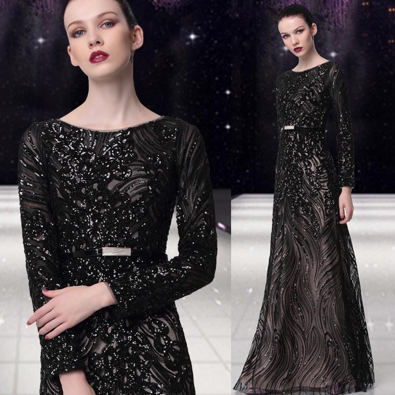 Вечерние платья Банкетный вечернее платье 2017 новый элегантный длинным рукавом зимний блестки провести длинный участок свадьба большие Размер женщины