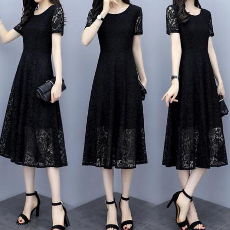 蕾丝连衣裙宽松遮肚减龄显瘦夏装新款大码女装胖mm200斤30