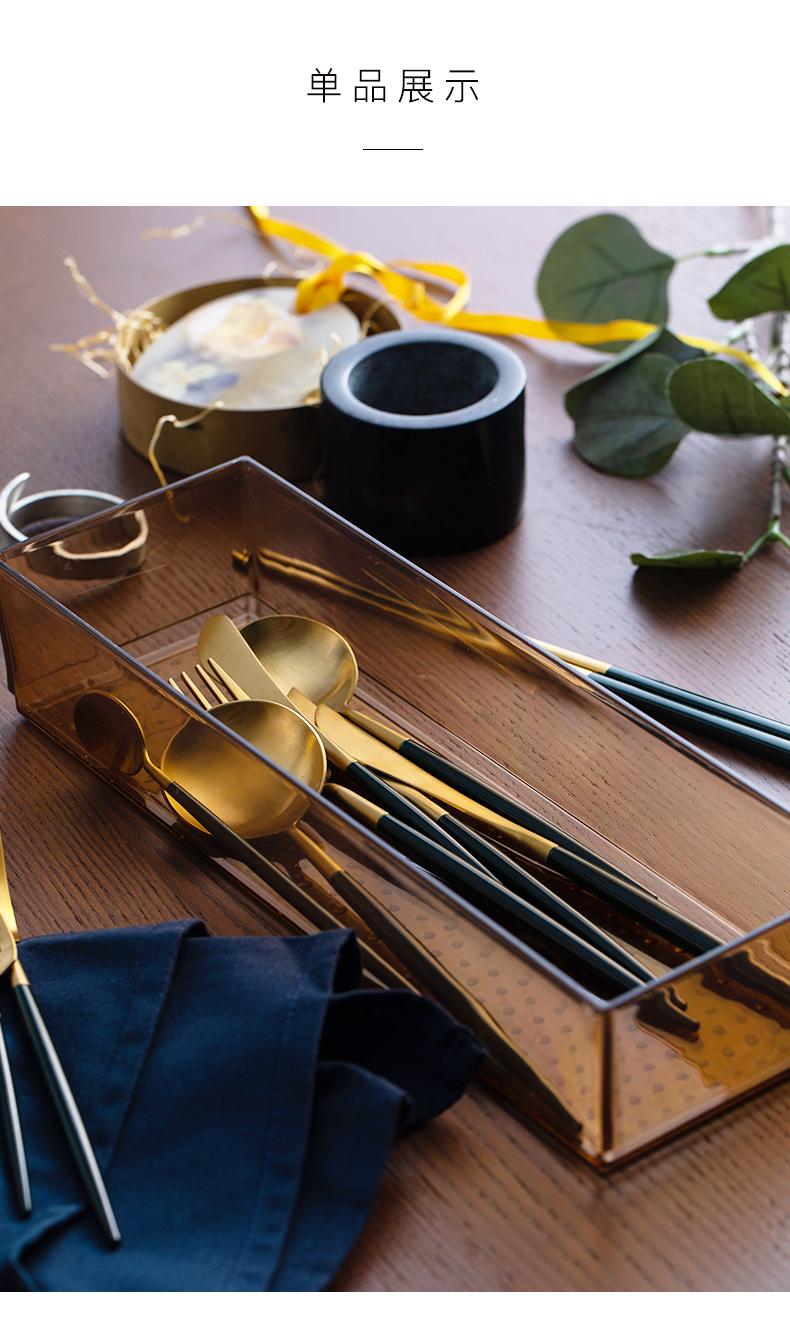 leon綠金西餐餐具304不銹鋼主餐刀叉勺甜品勺筷子餐具禮盒裝