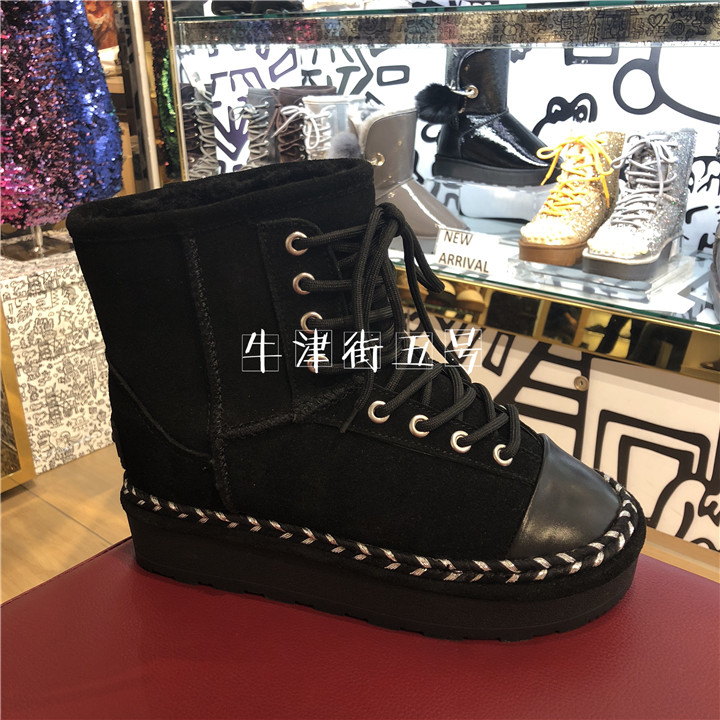 香港正品代购雪地IIJIN艾今新款编织百搭v正品内增高专柜靴女短靴