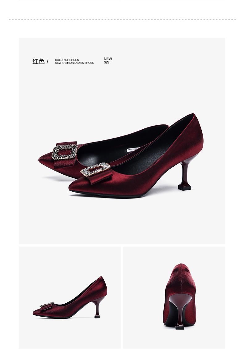 珂卡芙性感尖头单鞋女2020春季新款潮百搭高跟鞋女浅口细跟女鞋商品详情图