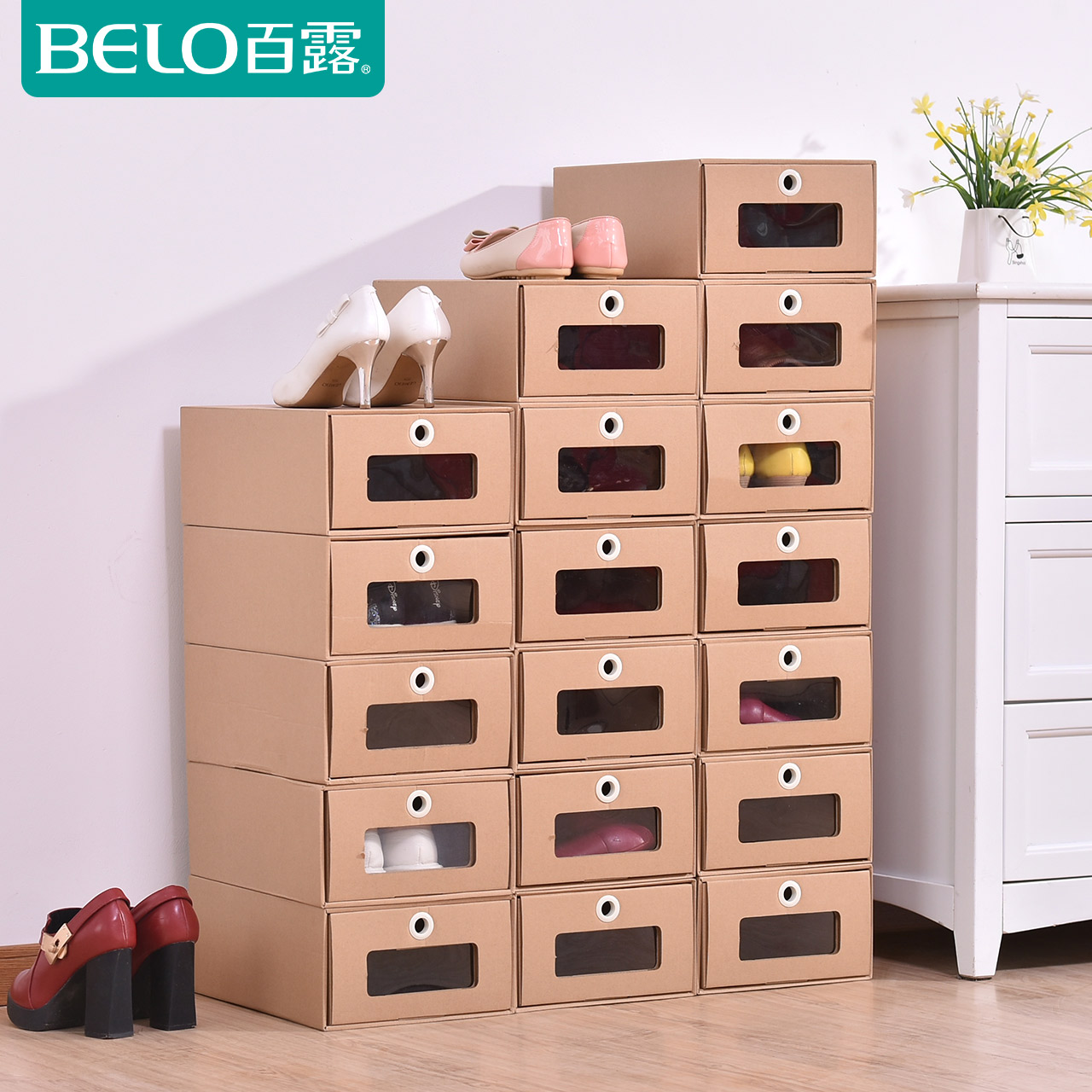Hundred Dew Transparent Shoebox Paper Box Simple Storage Shoe Box Drawer Shoes  Storage Box Men And