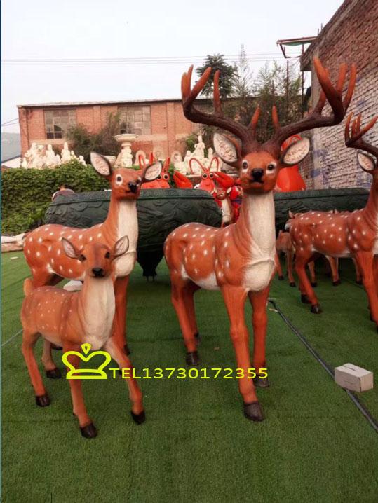 树脂红色小鹿一家三口喜庆摆件创意礼品结婚礼物家居工艺品摆饰