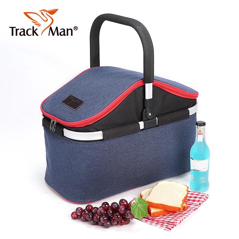 Trackman 户外露营野营带盖手提篮保温包旅游便携折叠野餐篮子