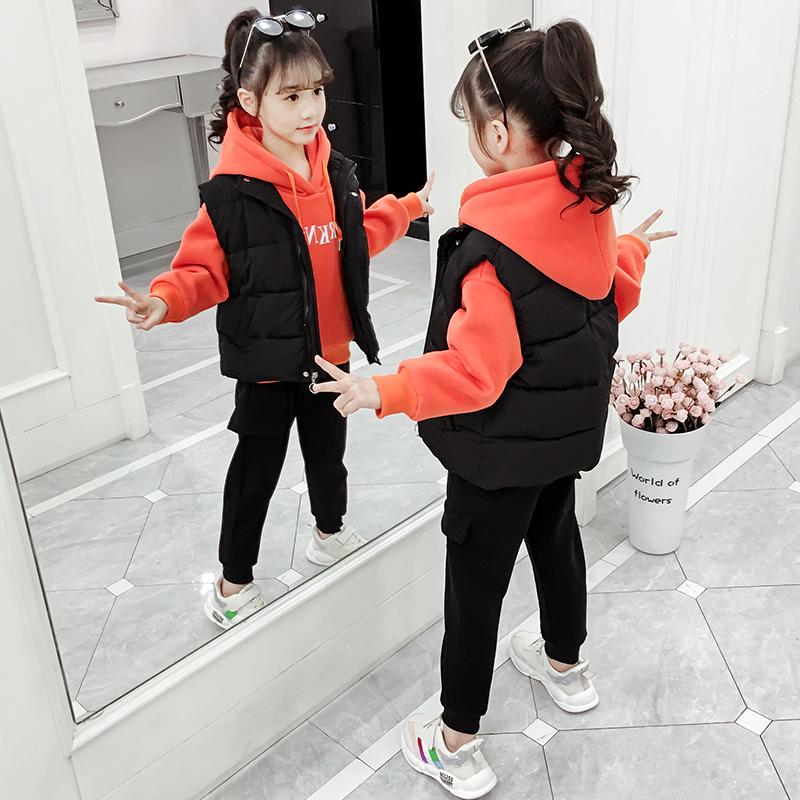 女童秋冬装套装2019新款3韩版4洋气5小女孩加厚6卫衣7三件套8岁潮