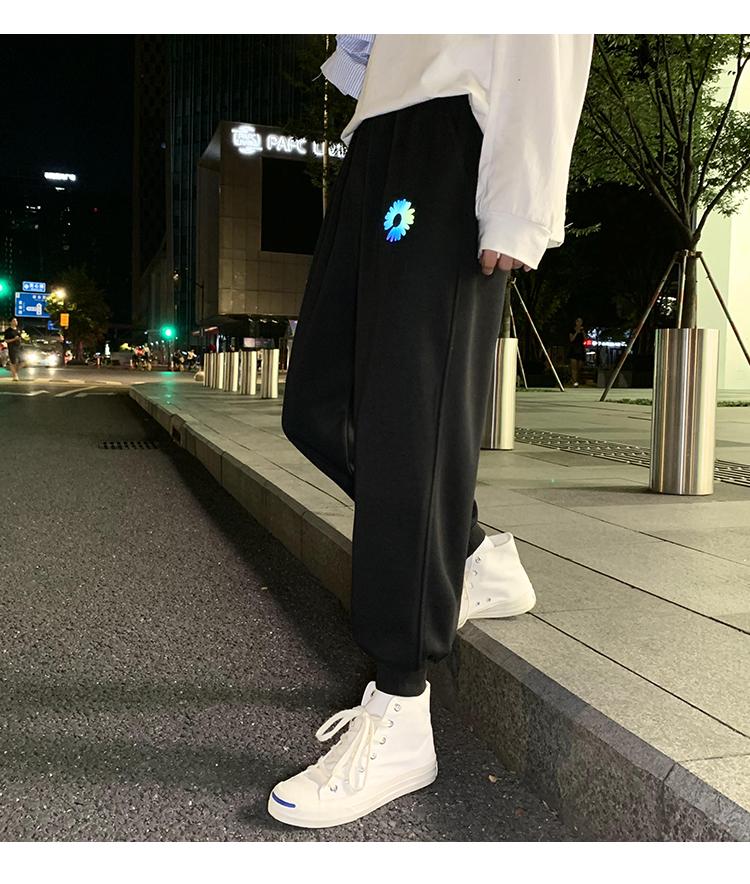 @港风夜景 菊花彩光运动裤男长裤反光休闲裤九分卫裤K201-P40控58