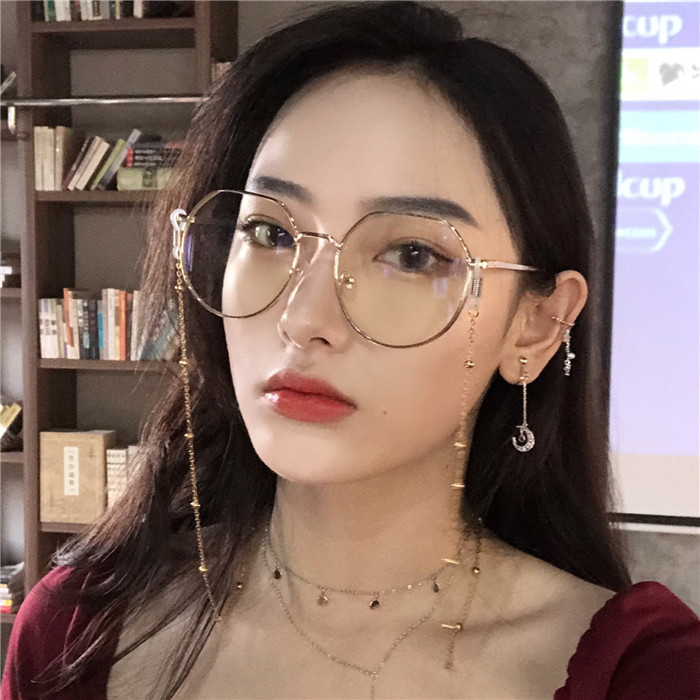 190437c9d31 Harajuku style big frame skinny face chain glasses ins styling pigment  frame Female Japanese soft sister round face with myopia mirror