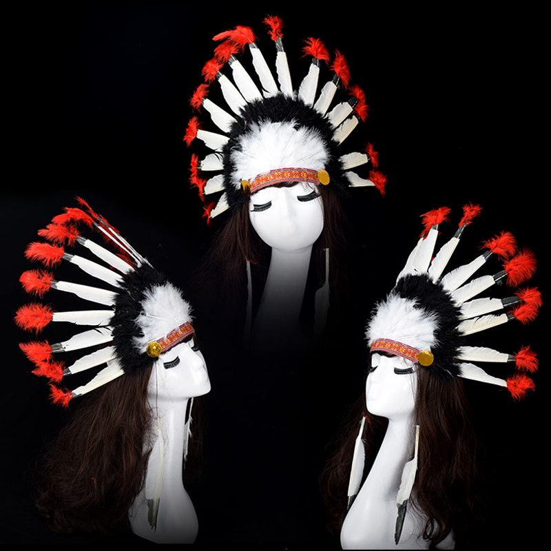 Indian headdress chief hat feathers Halloween party dress cos color  primitive savage props