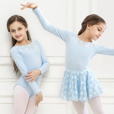 Girls long-sleeved ballet split dance clothes children's dance clothes practice clothes long-sleeved ballet skirt examination clothes