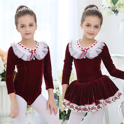 Children's long-sleeved ballet dance dress practice clothes skating suit velvet performance clothing split dance skirt