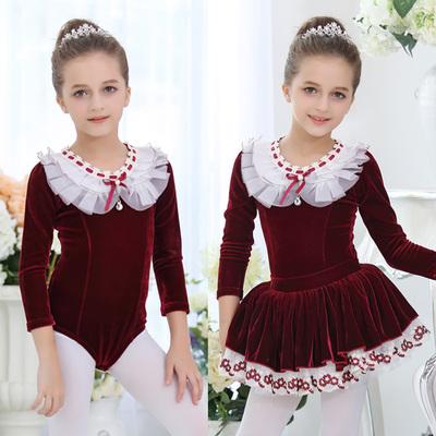 Children's long-sleeved ballet dance dress practice clothes skating suit velvet performance clothing split dance skirt