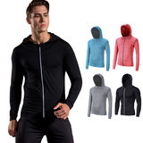 Long-sleeved fitness clothes men's quick-drying sunscreen running tops training clothes cardigan hooded sweater tights sports jacket