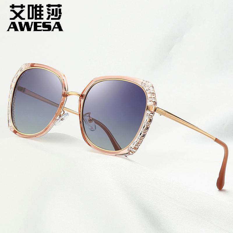 艾唯莎2019新款太阳镜女防紫外线浅色偏光墨镜女明星款潮开车眼镜