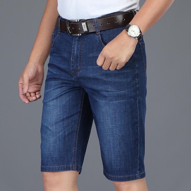 高品质男装牛仔中裤夏季中年宽松直筒大码中裤牛仔裤爆款