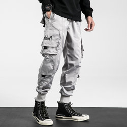 chic overalls men's trendy brand Shawn Yue loose hip-hop pants national tide casual small feet cargo Harlan trousers