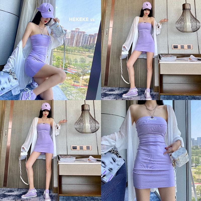 Wococo tím nhỏ gợi cảm từ váy vai 2020 mới siêu hot nữ đầm ngắn nữ gầy - Sản phẩm HOT
