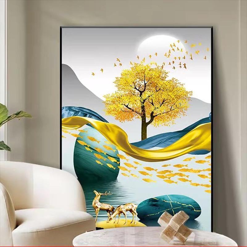 客厅装饰画三联挂画沙发背景墙壁画现代简约山水晶瓷画镶钻免打孔