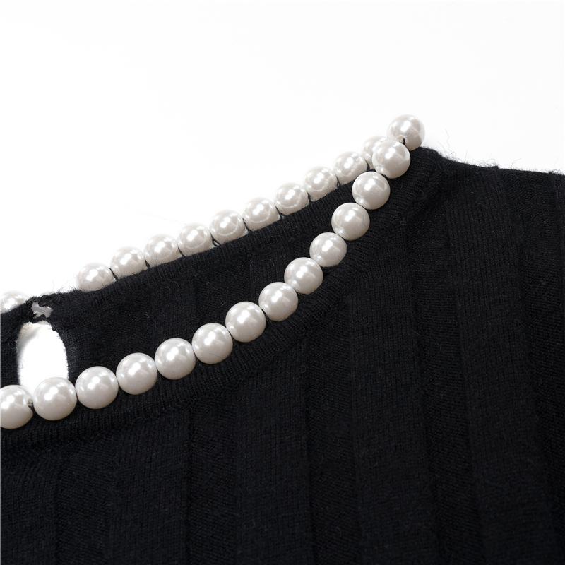 ITNT韓國女裝KINNATTY 官方授權 珍珠領坑條針織內搭女秋冬新款洋氣百搭打底衫