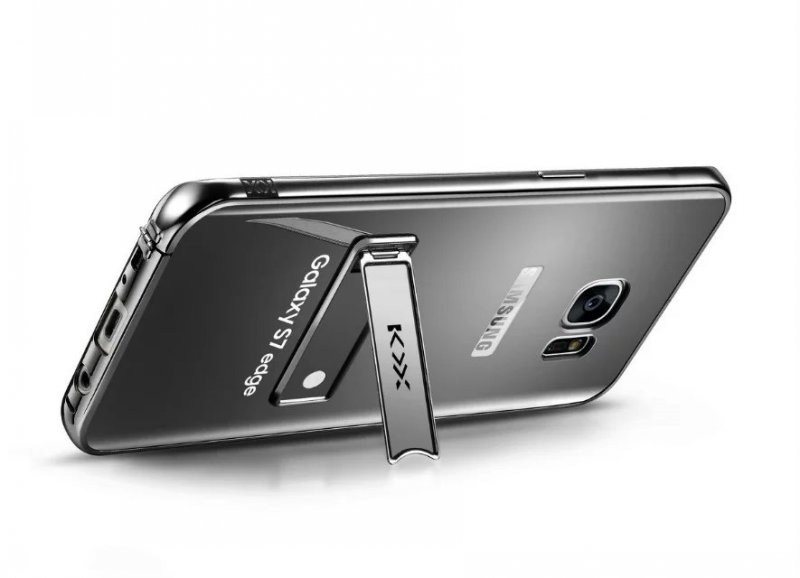 KXX Luxury Electroplate Stainless Steel Metal Bumper Acrylic Mirror Back Cover Case with Kickstand for Samsung Galaxy S7 Edge