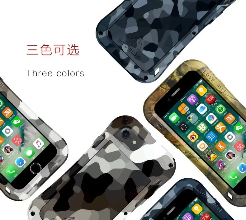 LOVE MEI Powerful Camo Series Small Waist Water Resistant Shockproof Dust/Dirt/Snow Proof Aluminum Metal Outdoor Gorilla Glass Heavy Duty Case Cover for Apple iPhone 7 Plus & iPhone 7
