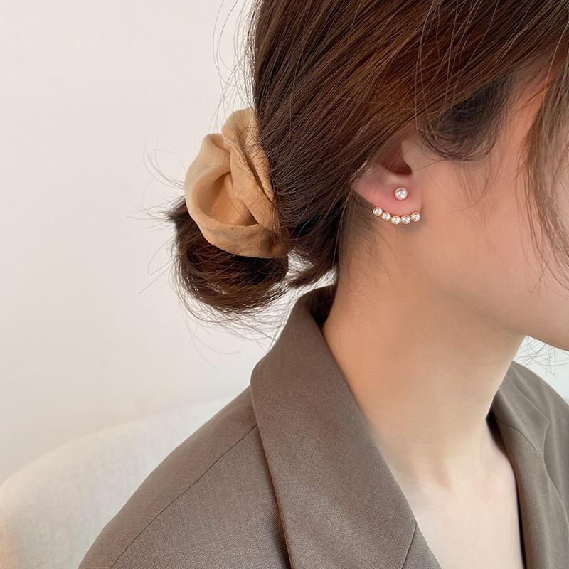 后挂式珍珠耳钉女式简约气质日韩个性网红小耳坠港风珠子耳环耳饰