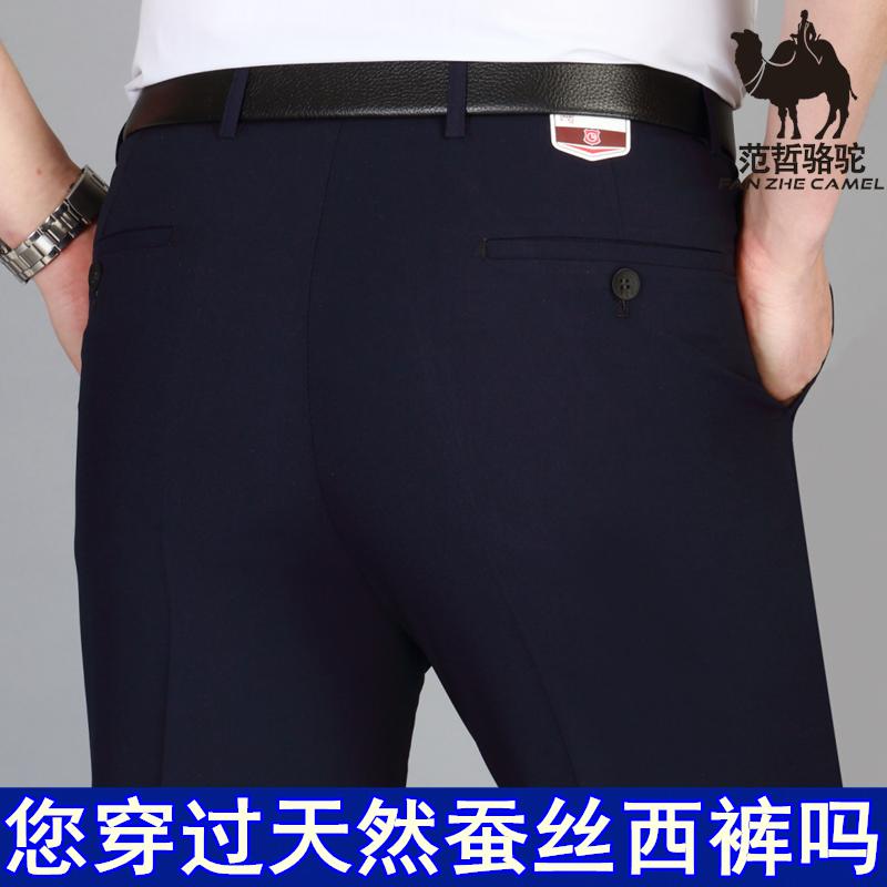 Quần tây nam mùa hè mỏng lụa lụa quần trung niên nam kinh doanh phù hợp với quần phi sắt thẳng quần giản dị - Suit phù hợp