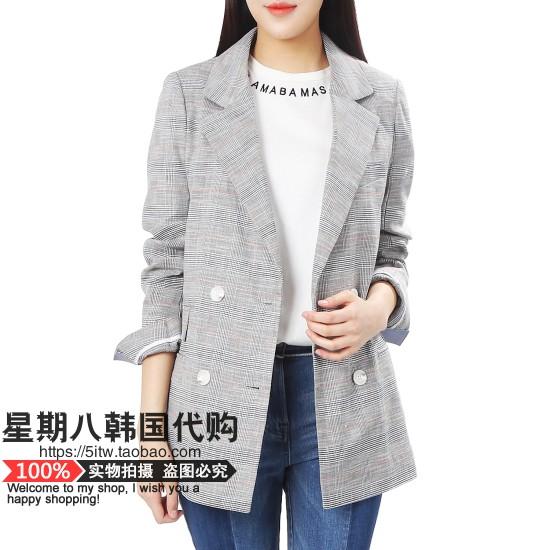 包直邮ON&ON韩国代购18夏格子小西装外套特价NWNW88MJMJ208