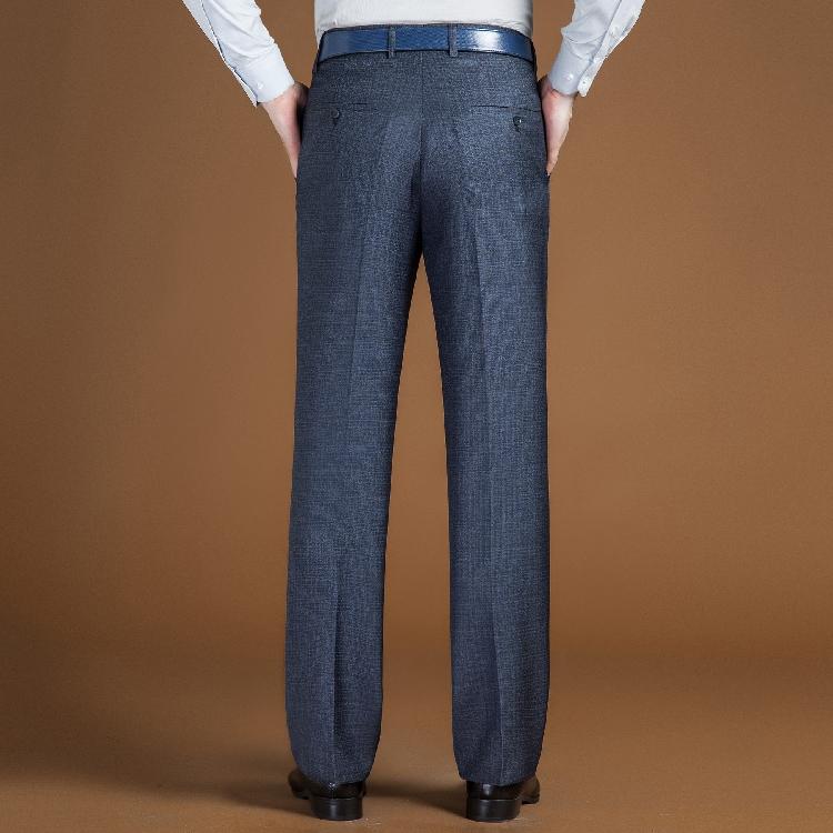 Quần nam mùa hè phần mỏng lụa lụa miễn phí nóng kinh doanh bình thường trung niên thẳng váy lỏng màu đen phù hợp với quần