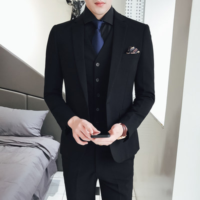 2020 autumn and winter new Korean version of a buckle casual fashion suit three-piece men's solid color slim small suit set
