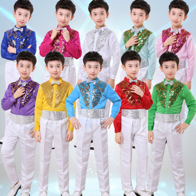 Boys Latin Dance Costumes Children's Show Suit Host sequined shirt and trousers two-piece suit