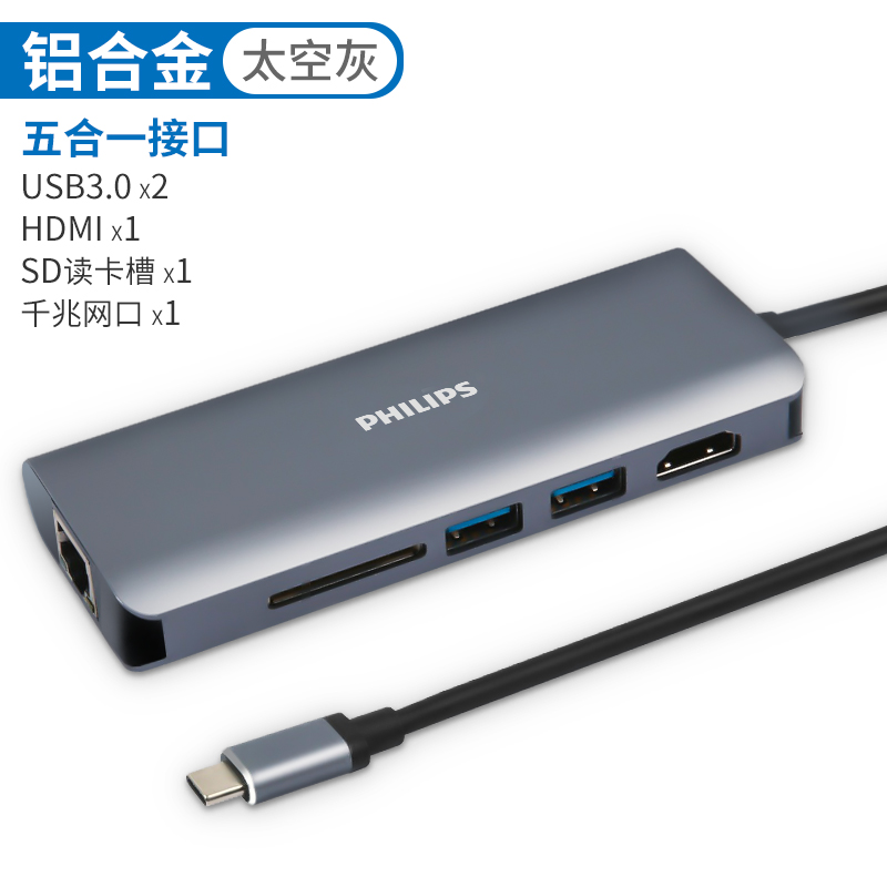 5-IN-1 EXPANSION (1608A)  -2*USB3.0+HDMI+SD+ NETWORK PORT (GIGABIT)
