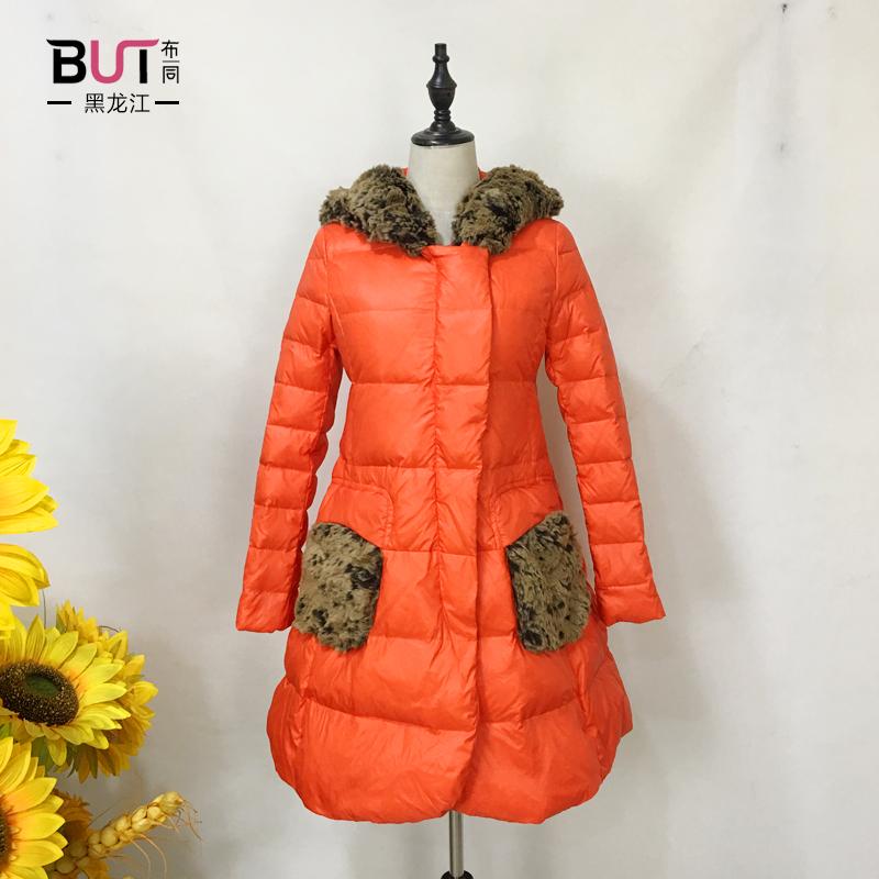诗梵妮思专柜女装新款冬装同款修身a字带帽长款羽绒服女R134260