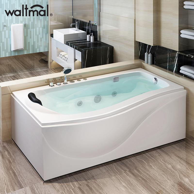 沃特瑪 浴缸家用成人亞克力獨立式沖浪按摩浴缸浴池 普通小浴缸