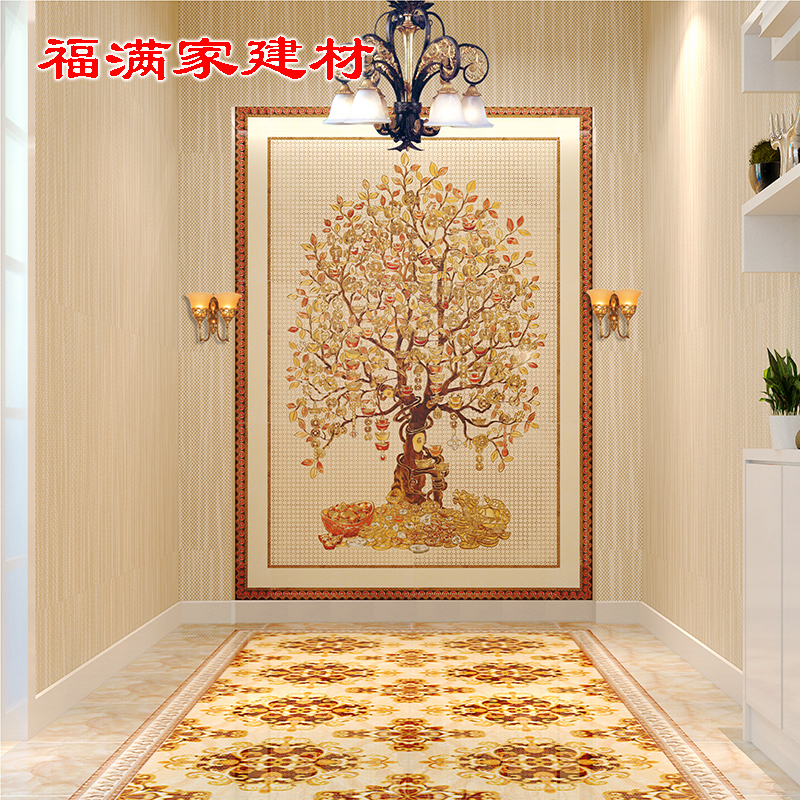 Entrance Door Tiles Mosaic Living Room Aisles Corridor Cast Crystal Bricks  Fortune Tree Tile Background Wall