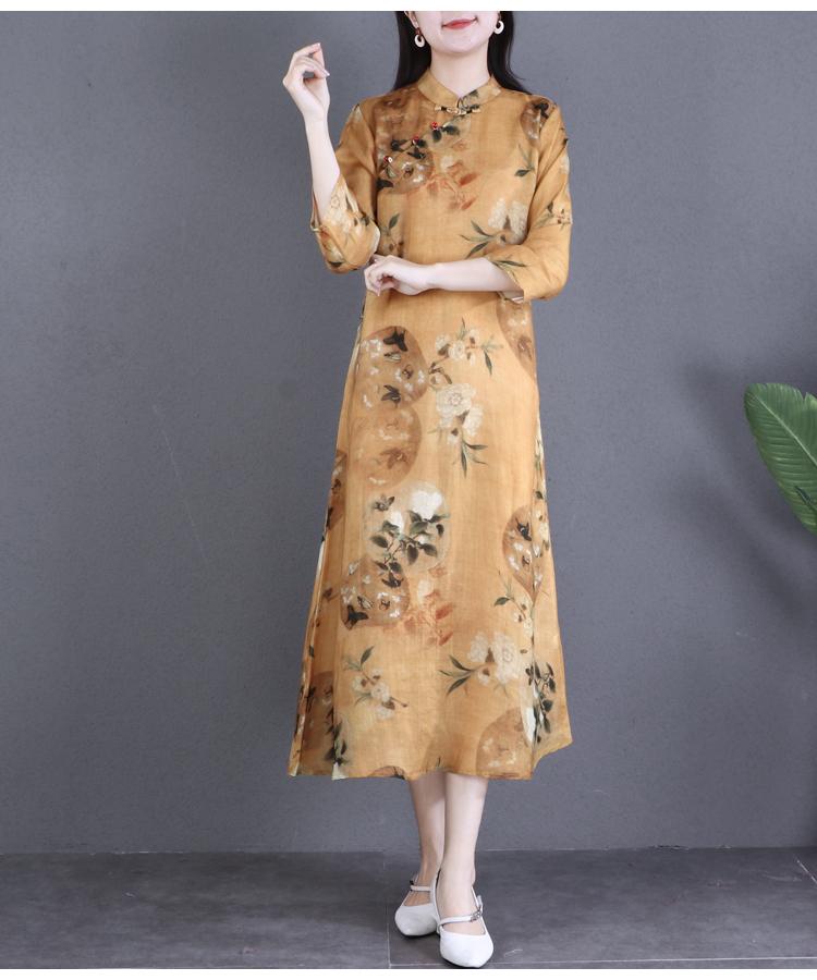 自然小铺福利高端新型纯薴麻印花洋装宽鬆中长版改良旗袍详细照片