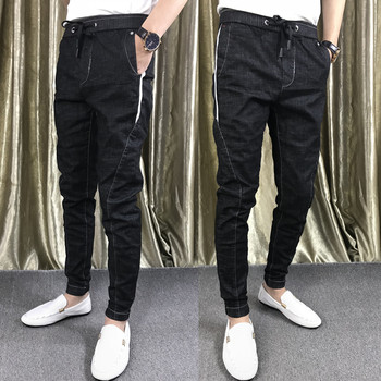 Spring social spirit guy feet pants 2020 new Slim Korean stretch pencil pants solid color jeans tide