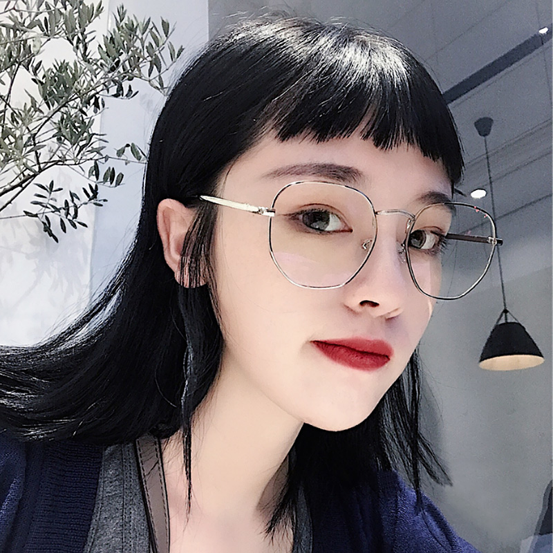 4a21b35766f Korean version of the tide retro Harajuku style plain net red degree flat  mirror big face myopia glasses frame female ulzzang