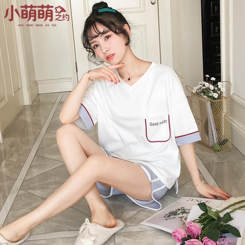 Phiên bản Hàn Quốc của đồ ngủ nữ mùa hè ngắn tay cotton mỏng hai mảnh phù hợp với học sinh dễ thương kích thước lớn mùa hè dịch vụ nhà giản dị - Bên ngoài ăn mặc