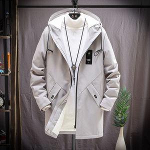 秋冬季加绒加厚男士中长款夹克青少年学生韩版潮风衣修身帅气外套