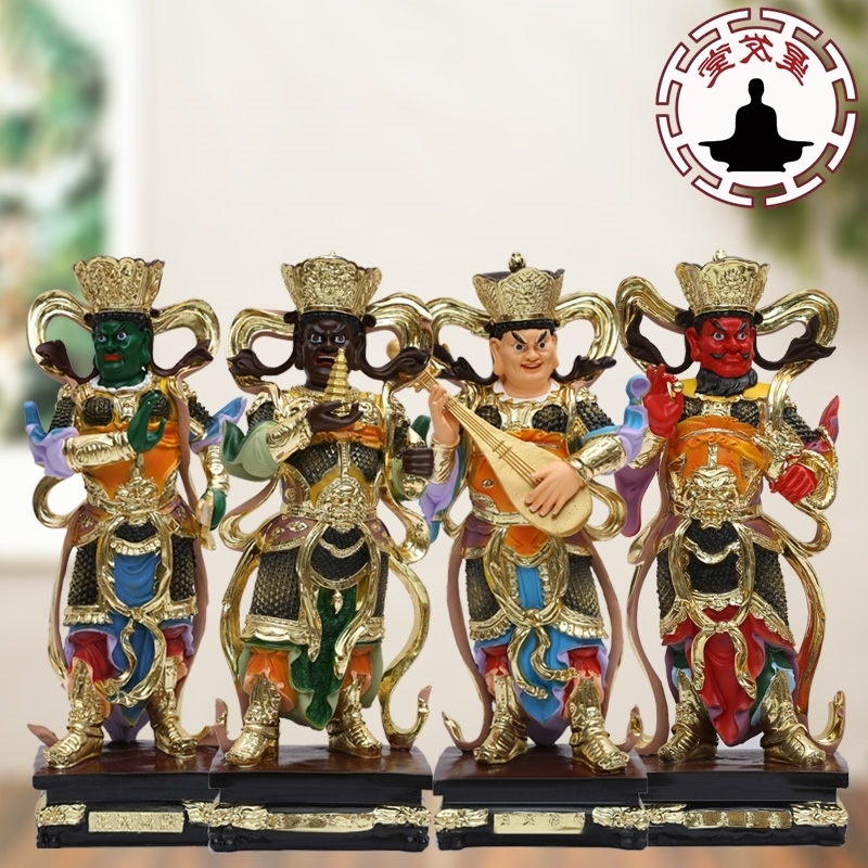 佛堂供奉树脂四大天王19寸48厘米古彩四大天王佛像托塔李天王神像