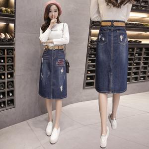 PQ78107# 牛仔半身裙潮韩版个性刺绣印花牛仔裙中长款A字裙