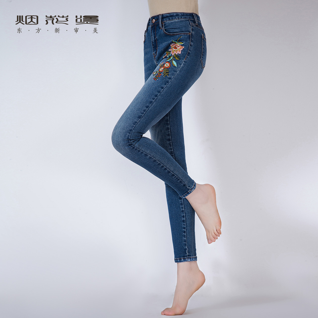 Fireworks hot summer female 2019 New simple fashion Slim was thin casual pants jeans met